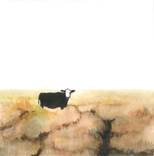 watercolor portrait of brown cow